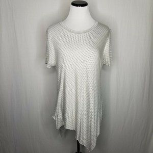 Elan Gray White Asymmetrical Hem Striped Tee